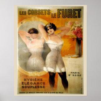 Vintage korsetterar annonseringen, Les Korsettera  Poster
