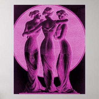Vintage korsetterar annonseringen, tre nådar, roso poster