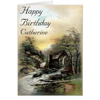 Vintage landskap det Watermill födelsedagkortet Hälsningskort