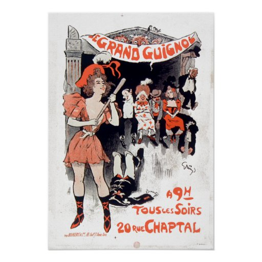 Vintage Le Théâtre du Tusen dollar-Guignol Poster