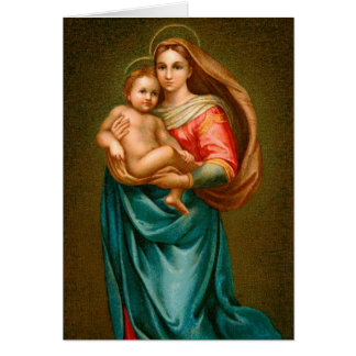 Vintage Madonna och barn Hälsningskort