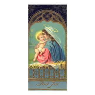 Vintage Madonna och barnjul Reklamkort