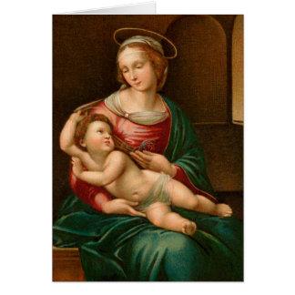 Vintage Madonna och barnreligiösajulkort Hälsningskort