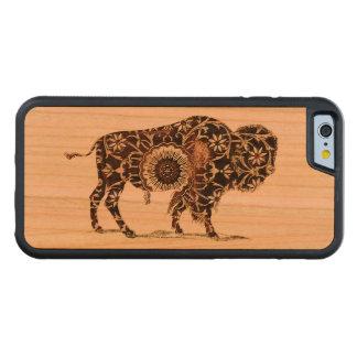 Vintage målad Bison Carved Körsbär iPhone 6 Bumper Skal