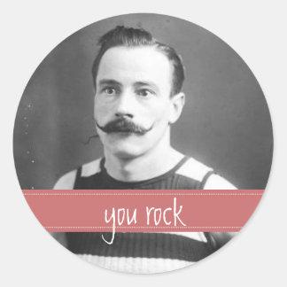 Vintage märker mustasch/moustachen som du vaggar runt klistermärke