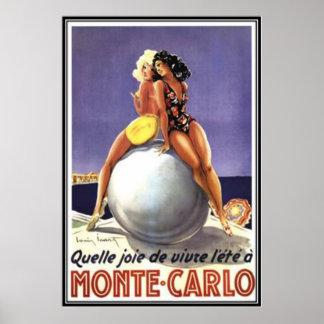 Vintage Monte - carlo, Monaco - Poster