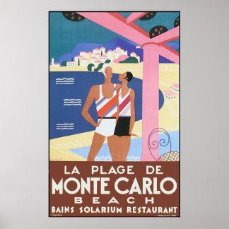 Vintage Monte - carlo strandaffisch
