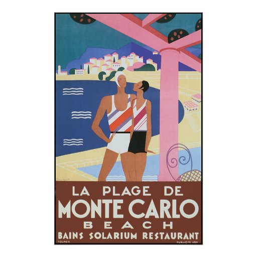 Vintage Monte - carlo strandaffisch Print