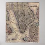 Vintage NYC och Brooklyn karta (1847) Poster