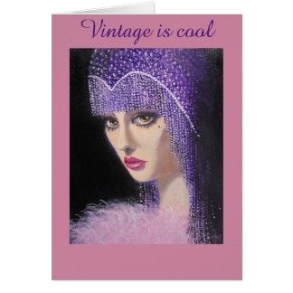 Vintage och kall dam, födelsedagkort hälsningskort