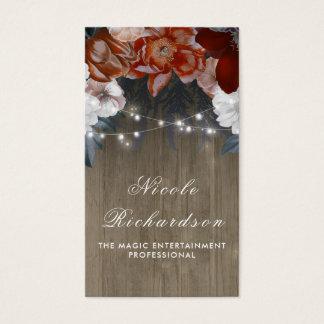 Vintage och lantlig plommon- och Burgundy blommigt Visitkort