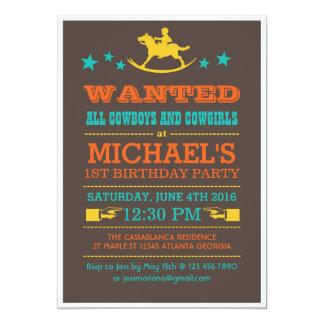 Vintage önskade western Cowboyfödelsedaginbjudan 12,7 X 17,8 Cm Inbjudningskort