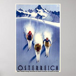 Vintage Österreich skidar Poster