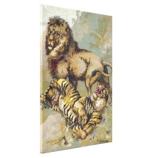 Vintage P.T. lejona Barnum och tigerkanvastryck Canvastryck