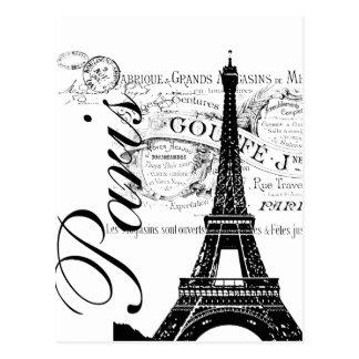 Vintage Paris & Eiffel tornetikett Vykort