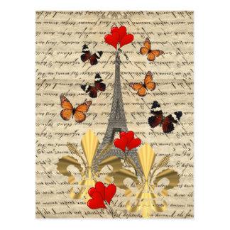 Vintage Paris & fjärilar Vykort