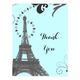 vintage paris för det blåtteiffel torn tackar dig vykort