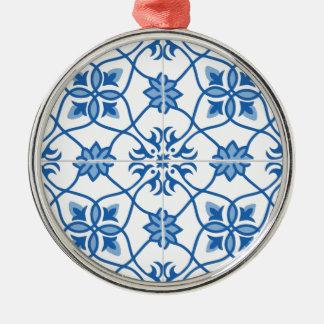 Vintage portugisiska Azulejo belägger med tegel Julgransprydnad Metall