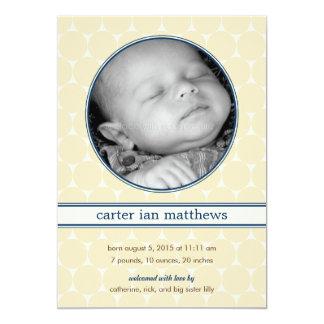 Vintage pricker pojkefödelsemeddelande 12,7 x 17,8 cm inbjudningskort