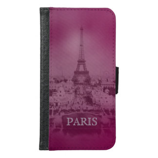 Vintage purpurfärgade Paris och Eiffel torn Samsung Galaxy S6 Plånboksfodral