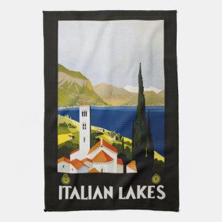 Vintage räcker den italienska sjöar handduken kökshandduk