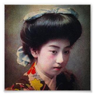 Vintage räcker den kulöra japanska geishaen fototryck