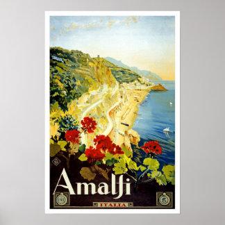 Vintage resor Amalfi Print