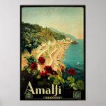 Vintage resor Amalfi italiensk kustenstrand Affisch