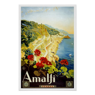 Vintage resor Amalfi Poster