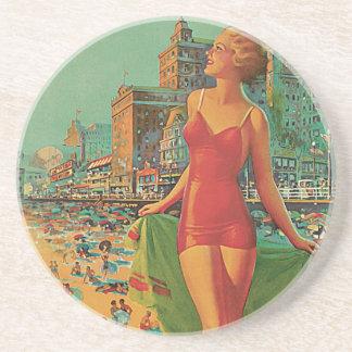 Vintage resor blondin för Atlantic City Underlägg Sandsten
