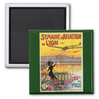 Vintage resor flygplanluftShow, Lyon, frankrike Magnet