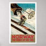 Vintage resor norge skidar affisch