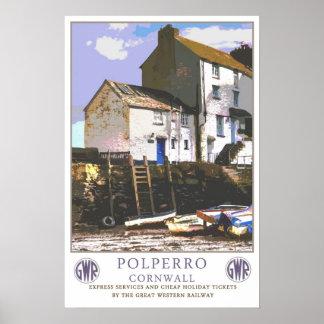 Vintage resor Polperro. Poster