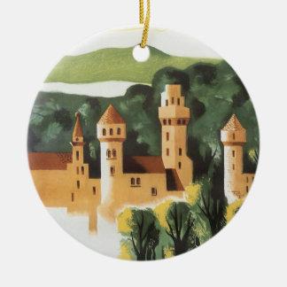 Vintage resor tyskt slott, Bayern Tyskland Julgransprydnad Keramik