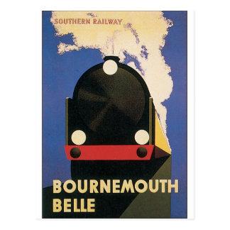 Vintage resoraffisch av det Bournemouth Belletåg Vykort