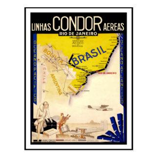 Vintage resoraffisch för den Brasilien vykortet Vykort