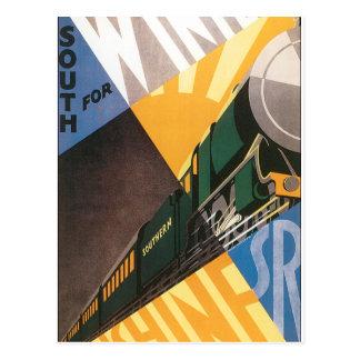 Vintage resoraffisch som är grafisk av tåg vykort