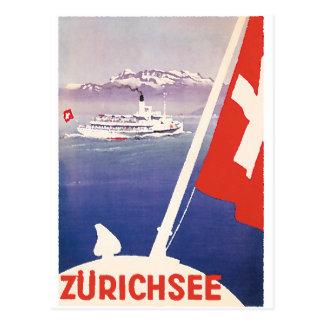 Vintage resoraffischer: Sjö Zurich Schweitz Vykort