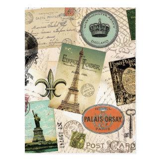 Vintage resorcollagevykort vykort
