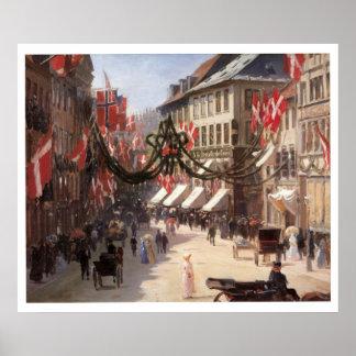 Vintage resorflaggmärkesdag i Köpenhamnen Danmark Poster