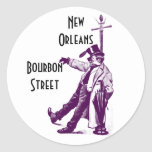 Vintage resorklistermärkeBourbon gata New Orleans Runda Klistermärken