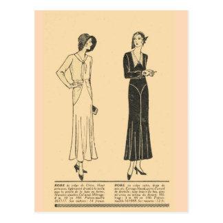 Vintage retro fransk mode, dag klär, 1931 vykort