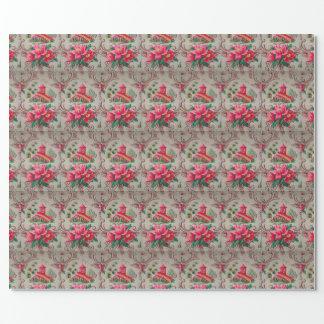 Vintage rosa blom- Barkcloth avbildar slå in Presentpapper