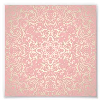 Vintage rosa, blommigt, victorian, guld, elegant, fototryck
