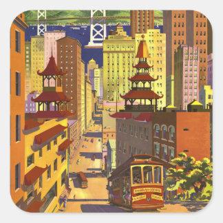 Vintage San Francisco Fyrkantigt Klistermärke