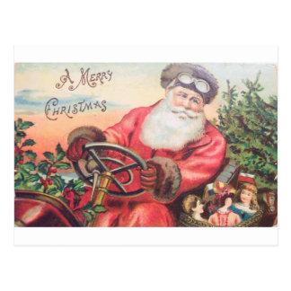 Vintage Santa i hans bil med vänta för barn Vykort