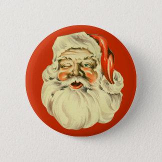 Vintage Santa klämmer fast Standard Knapp Rund 5.7 Cm