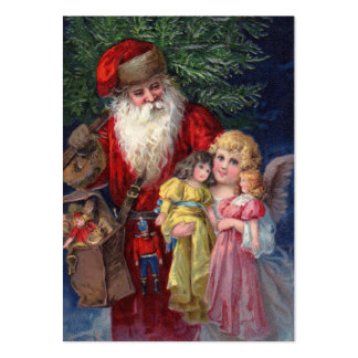 Vintage Santa med ängel och leksaker Visitkort Mall