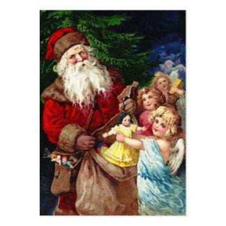 Vintage Santa med änglar Visitkort Mallar