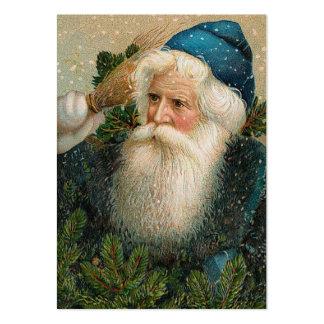 Vintage Santa med blåttlocket Visitkort Mall